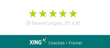 Business Coach Dr. Sarah Gierhan ist mit 4,9 von 5 Sternen bewertet bei Xing Coaches und Trainer.